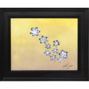 Original Oil Painting White Blue Flowers