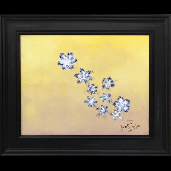 Original Oil Painting White Blue Flowers