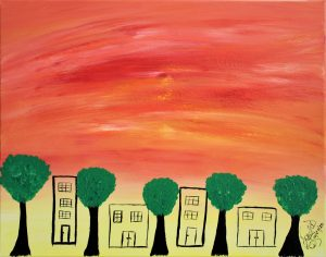 Abstract Acrylic Art Sunset Street