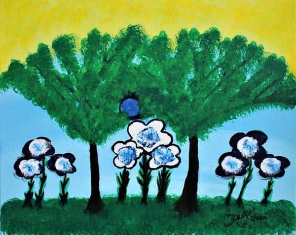 Abstract Acrylic Art Blue Park