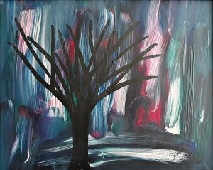 Abstract Acrylic Art Tree Silhouette